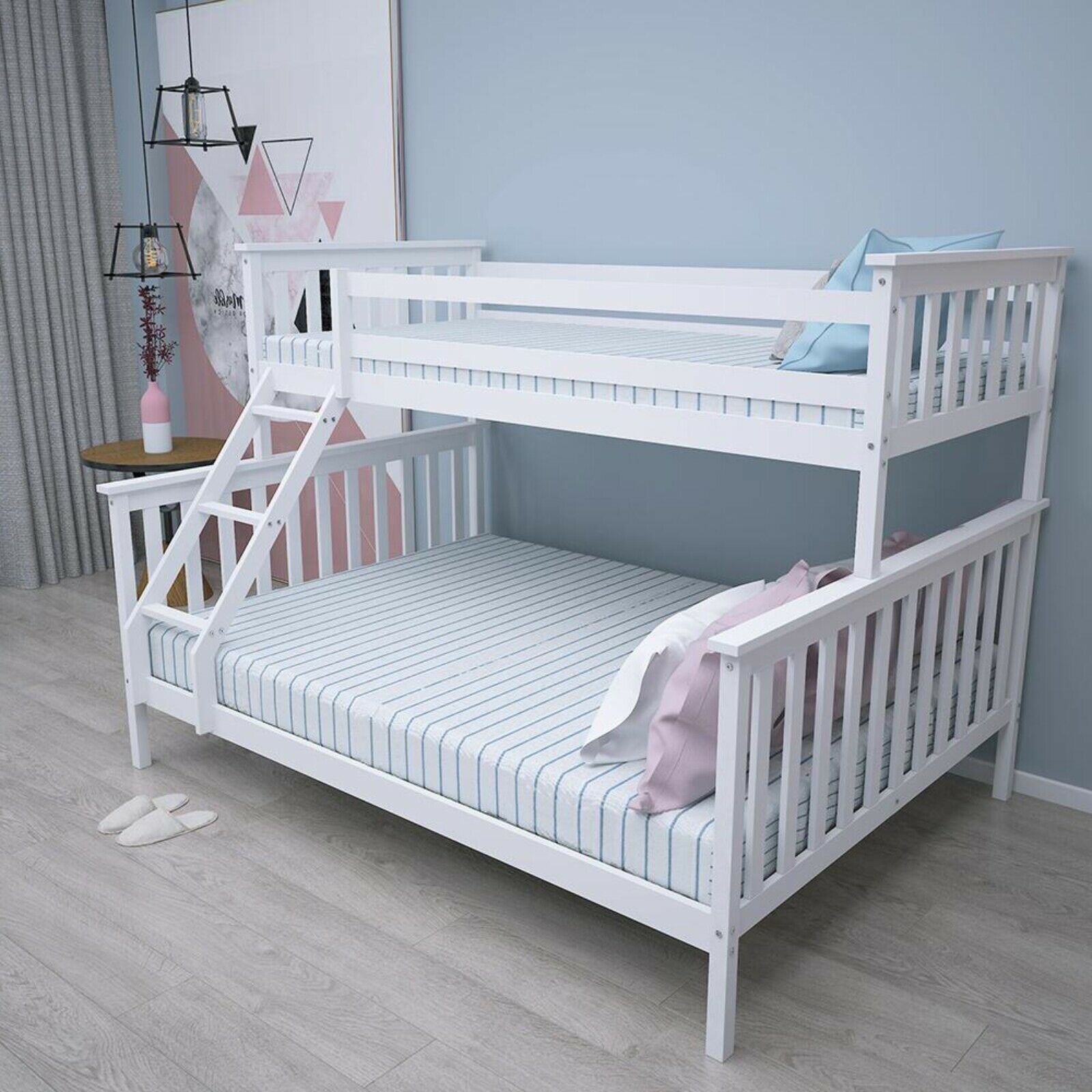 Double Bed Bunk Bed Triple 3 Pine Wood Kids White Children Bed Frame With Stairs Buy Double Bed Wood Kids Cheap Bunk Bed Frames Product On Alibaba Com