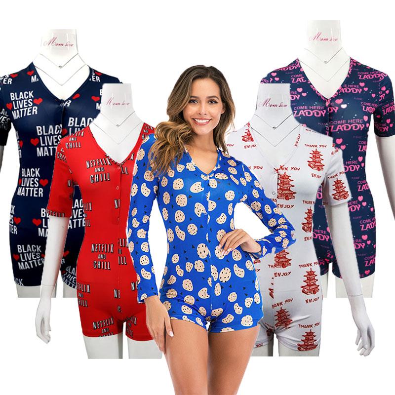 2021 China Factory plus size S-XXL long sleeve logo onesie pink onesie for women sleepwear Custom logo onesie