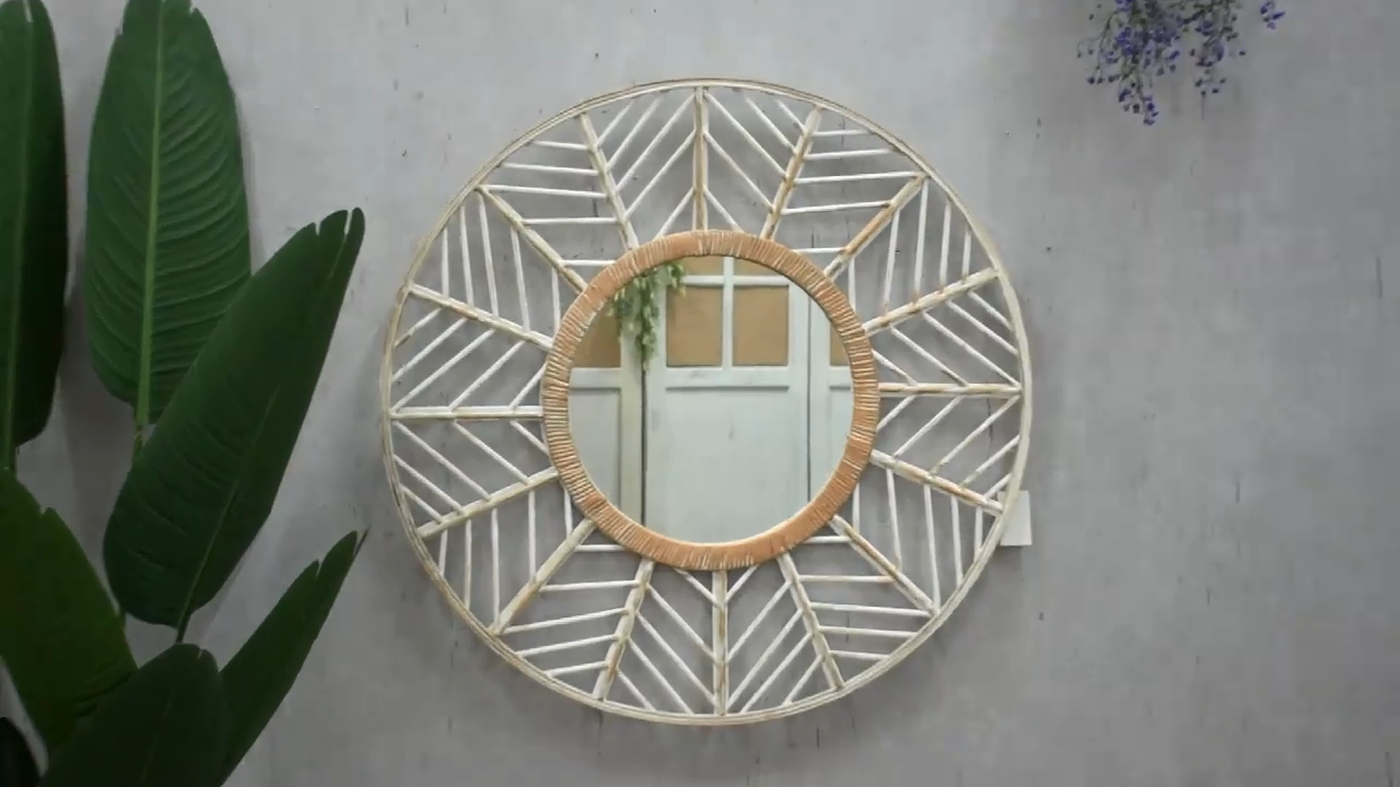 Luckywind Bamboo Wall-Mounted Vanity Mirrors, Rattan Wood Art Deco Round Mirror, Home Living Room Bedroom Wall Decoration Mirror