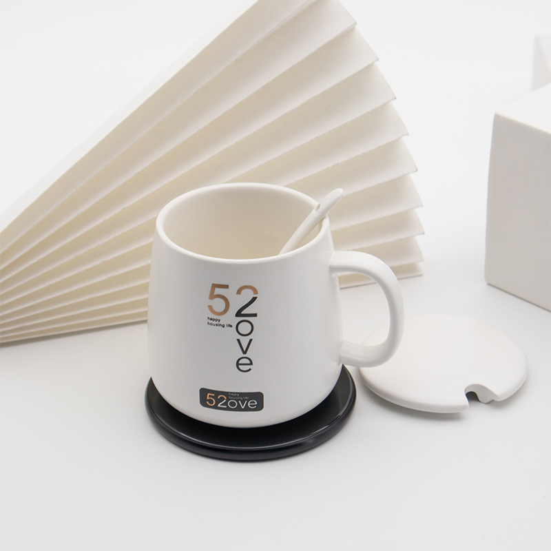 Self Heating Ceramic Cup Temperature Control Mug Hot Coffee Tea Drink Qi Pad Gif