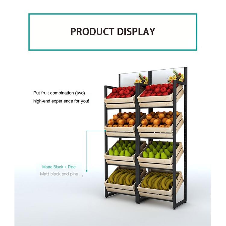Компания Kainice, свежие фрукты, овощи, железная рама, полки для супермаркета, стенд, дисплей, деревянная витрина для фруктов
