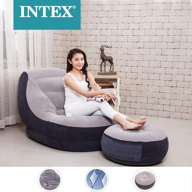 Intex мебель классический цвет воздушный диван и ножной стул с отверстием для чашки 68654 надувной ленивый диван для помещений