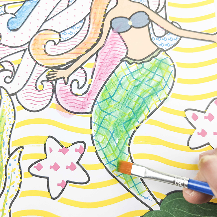 educational kid magic paint palette coloring book water painting book with brush