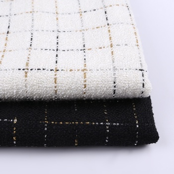 Ready to ship black and white elegant woven italian tweed fabric for garment