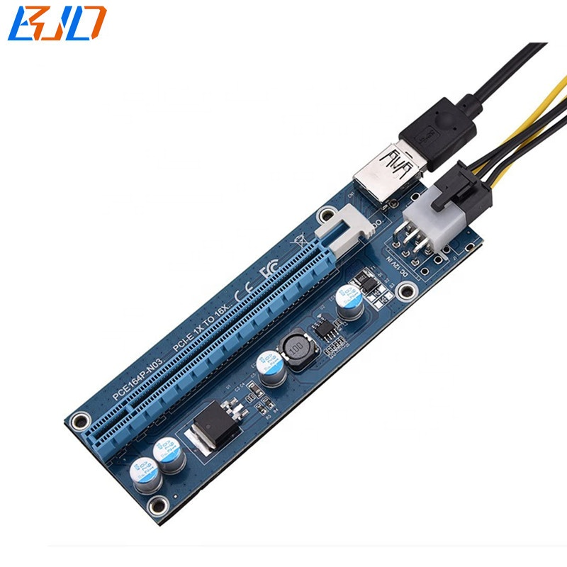 Mini PCIe MPCIe to PCI-E 16X GPU Riser Adapter for Video Graphics Card Ethereum Mining with 60CM USB Cable & 6Pin to SATA Cable