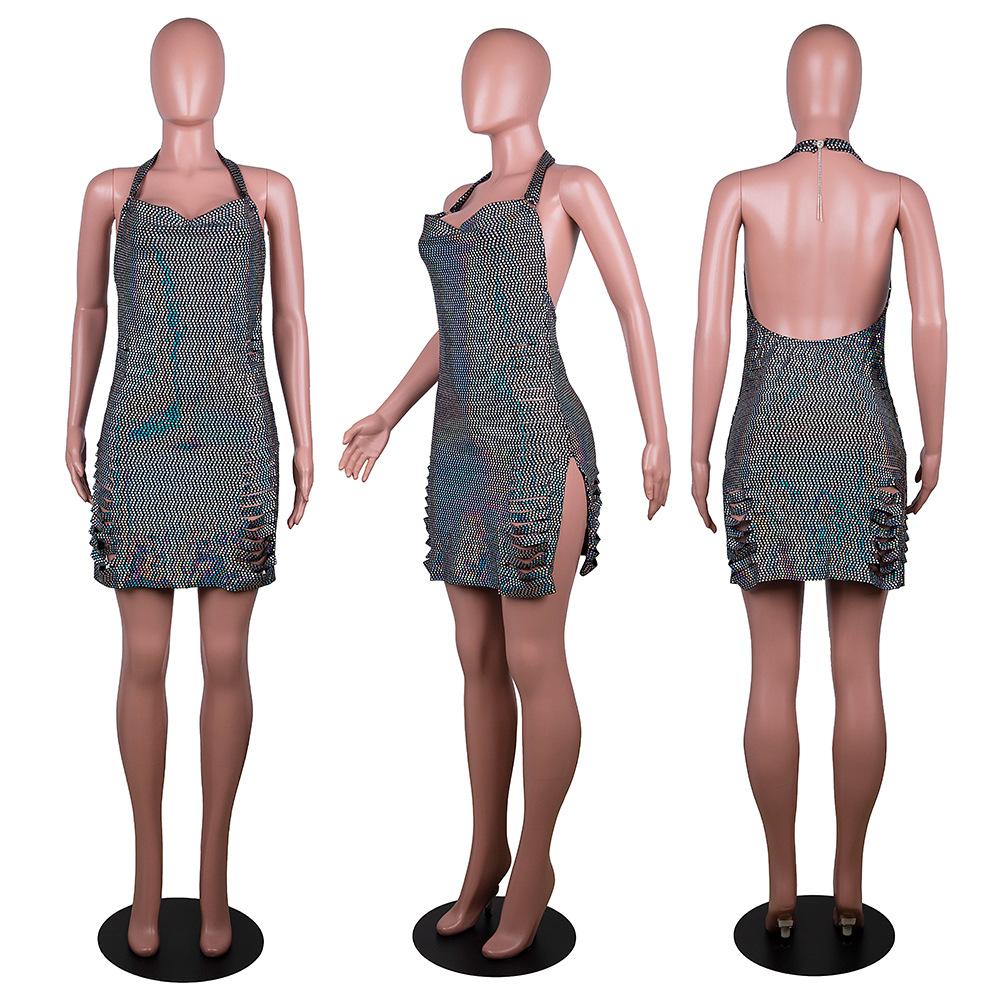 Новинка лета 2021, соблазнительное женское Клубное платье, вечерняя Клубная одежда без рукавов, Соблазнительные мини-платья с блестками и открытой спиной для женщин