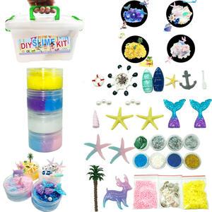 Amazon hot 37pcs/pack DIY slime kit mermaid starfish fishtail ocean series crystal clay slime