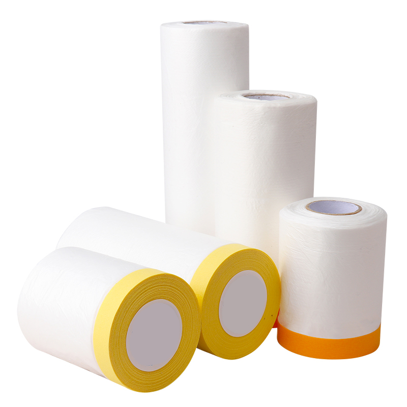 Rice Paper Pre-Taped Pretaped Painter Plastic Film Indoor Paint Spray Protection Washy Pre Taped PE Masking Drop Film