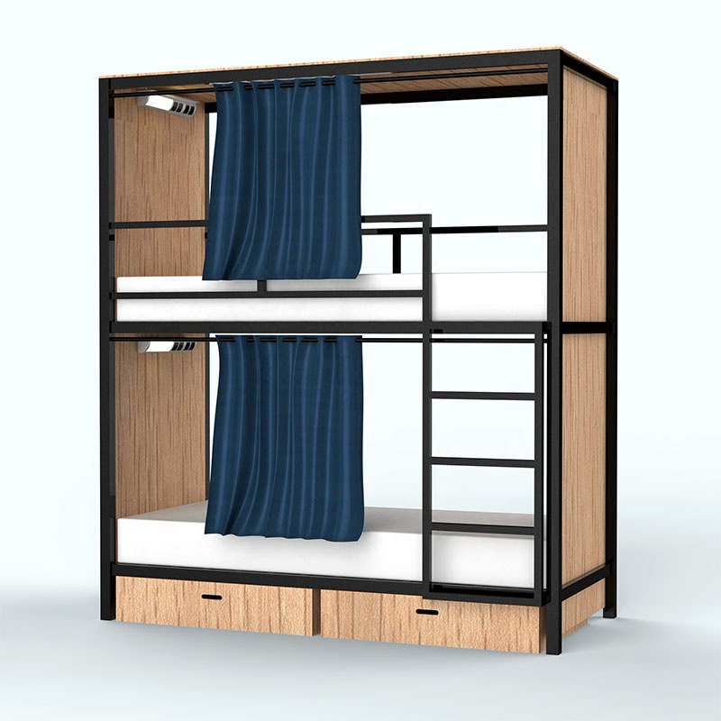 New Design Black Double Layer Stacked Bed Adult Kid Metal Detached Bunk Bed