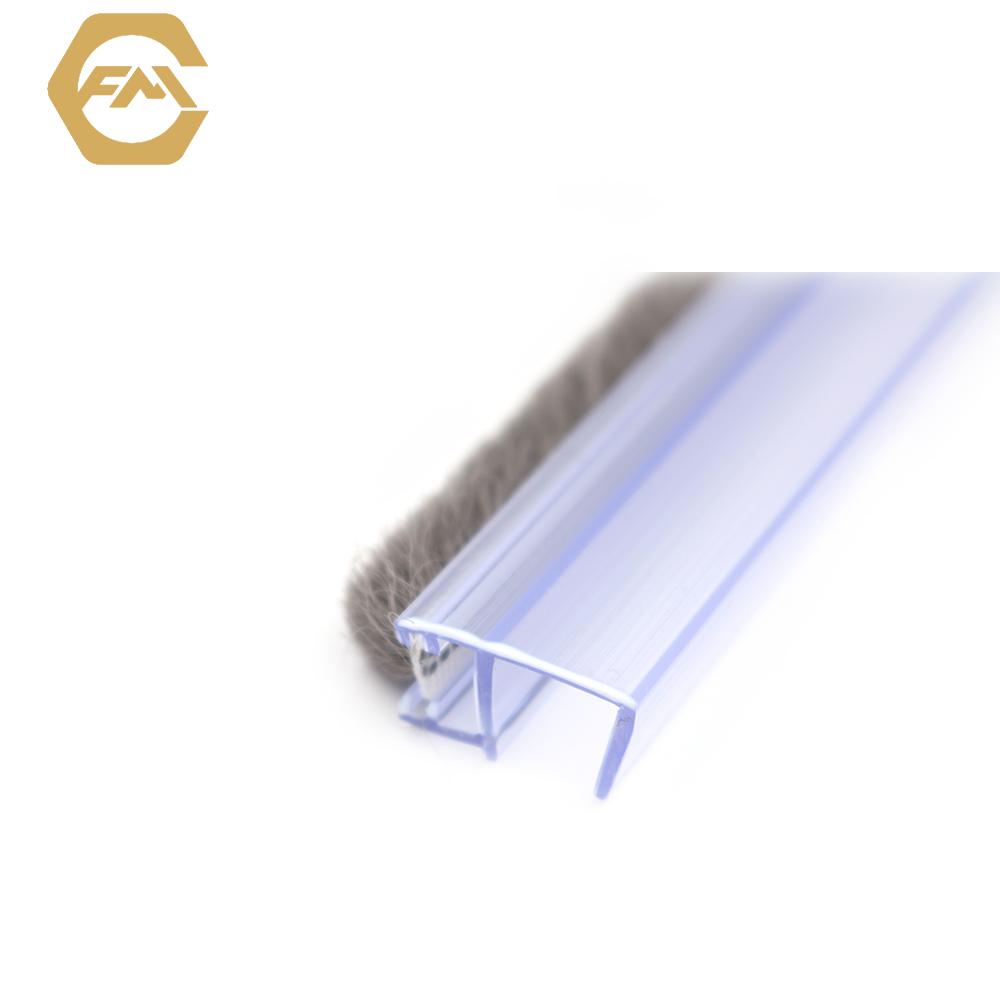 High Quality PVC Bathroom Frameless Sliding Tempered Glass Door Waterproof Strip