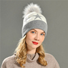 White and grey faux pom