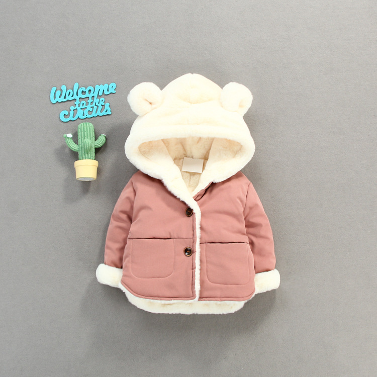 KBE84224 New Winter baby boys and girls casual Jackets Coats Thick Warm Toddler girls Winter cute hooded Coat