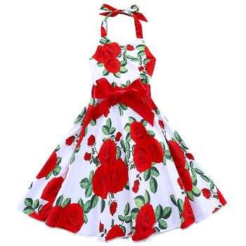 Latest wholesale summer high quality boutique bows children frock designs red flower pattern kids 1 piece party dress for girls