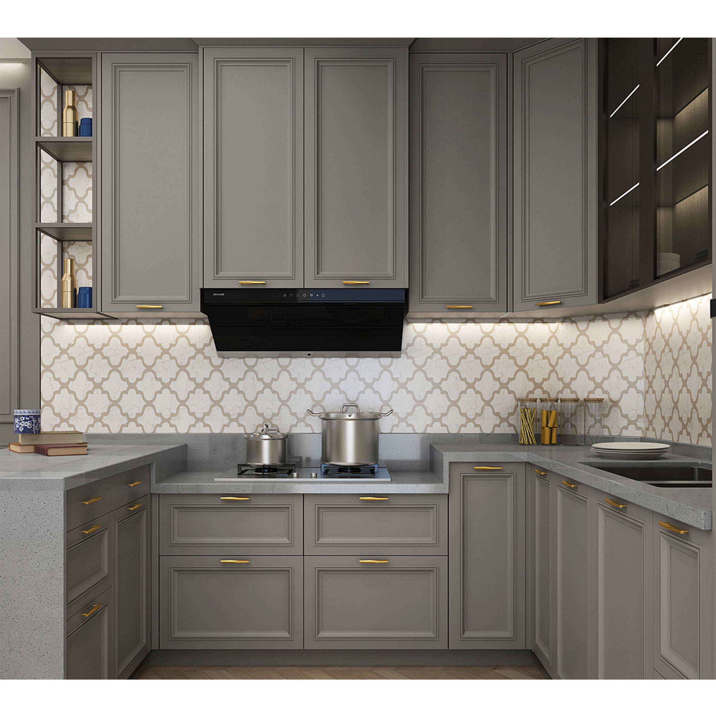 Foshan Lacquer Kitchen Cabinets Wholesale Solid Color High Gloss Lacquer U Shaped Kitchen Cabinet Buy Indian Kitchen Design Design Kitchen Set Whole Kitchen Cabinet Set Product On Alibaba Com
