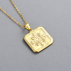 925 Silver Silver 925 Sterling Silver Christian Jesus Virgin Square Pendant Necklace Religious Necklace 18k Gold Platinum Plated