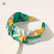 Женская повязка на голову с принтом кешью, тканевый обруч для волос, широкий обруч на голову, градиентные цветочные аксессуары для волос, го...(Китай)