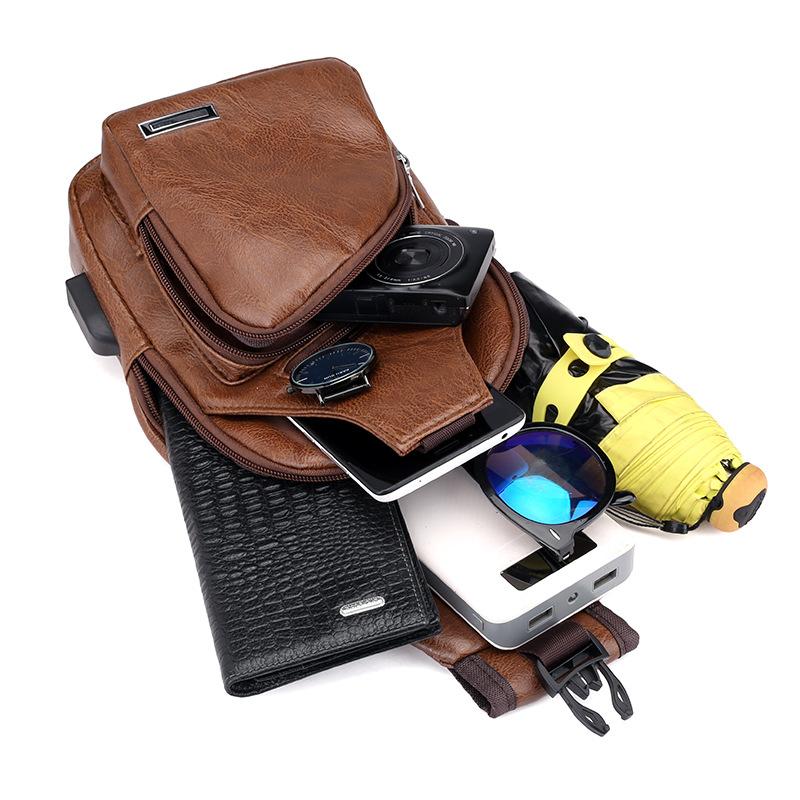 Wholesale PU Leather Crossbody Sling Backpack Sling Bag Travel Hiking Chest Bag Daypack Fanny Pack for Men Women