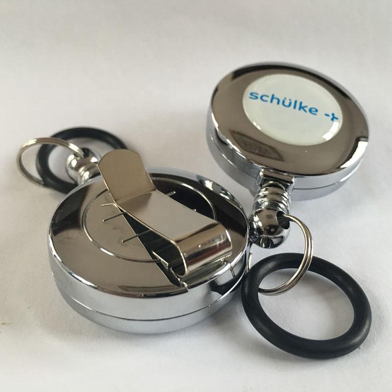 Высококачественный индивидуальный выдвижной держатель для удостоверения личности лыжного пропуска, брелок для ключей, кольцевая катушка, брелок с зажимом