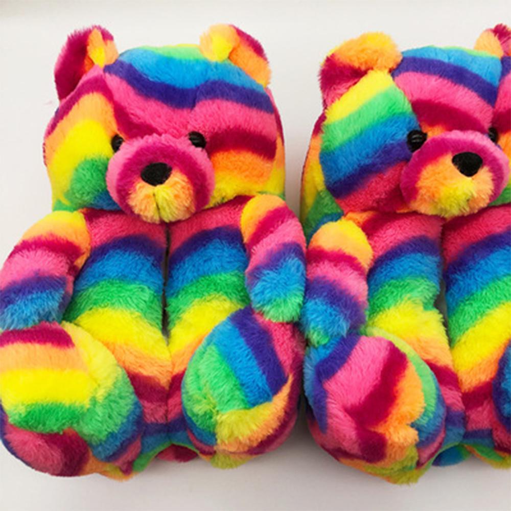 Зимние меховые пушистые тапочки Superstarer для дома, тапочки для спальни с пушистым плюшевым медведем
