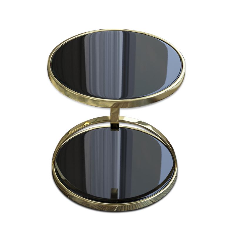 OEM ODM china manufacturer modern white black color glass marble top side tables for living room