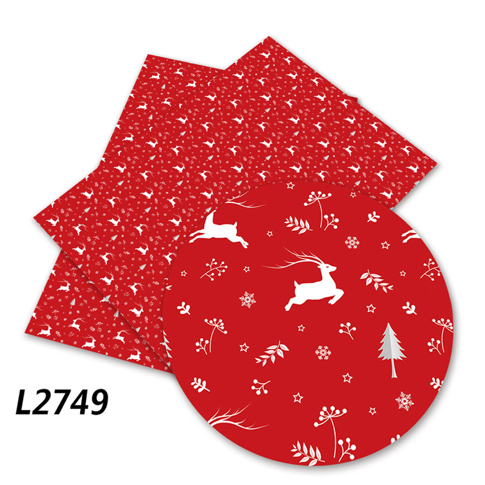 Xmas Faux Synthetic Leather Fabric Sheets Halloween Printed Vinyl Leather for Hair Bow Bags Shoes Crafts Material
