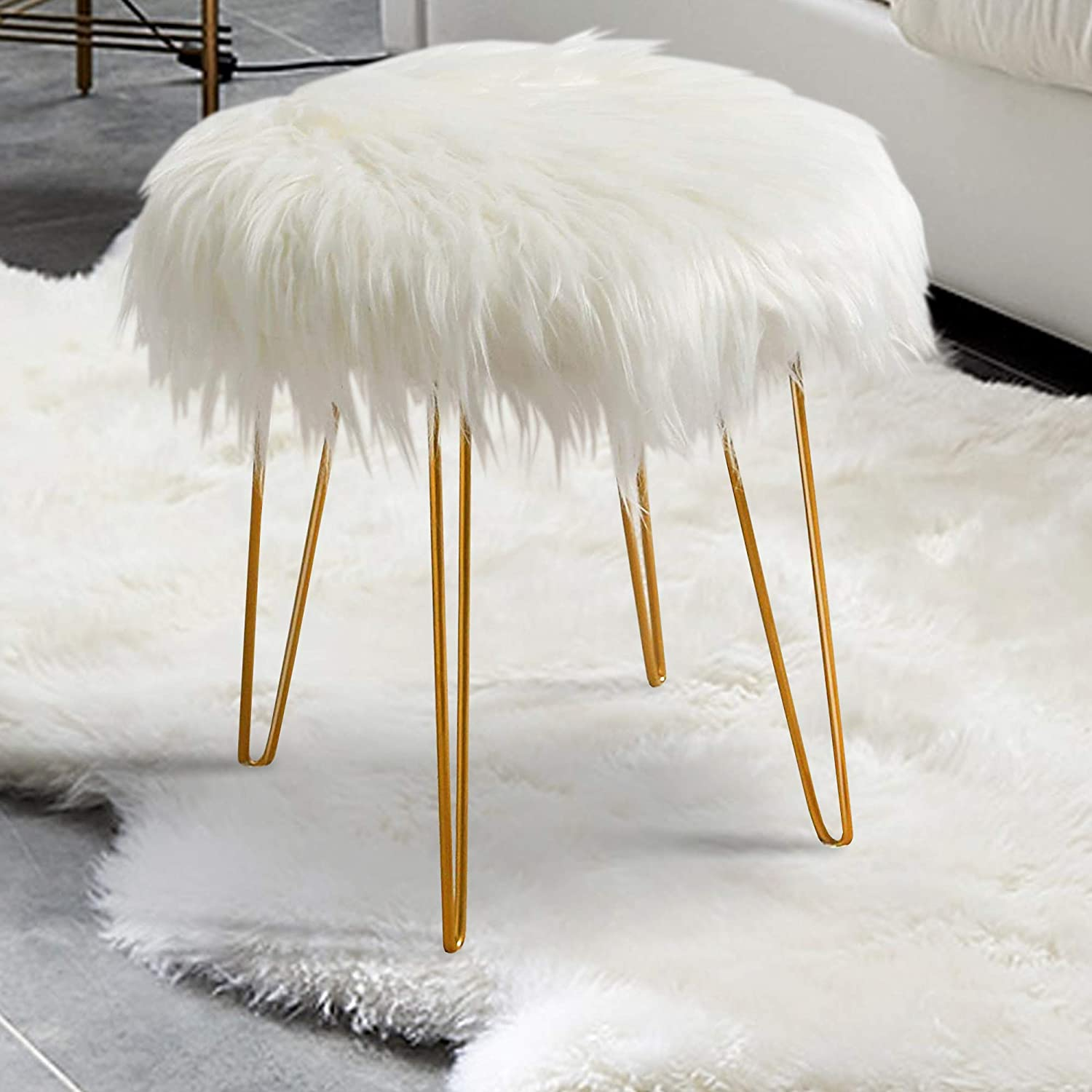 Footrest with Hair Pin Metal Legs for Living Room Furry Padded Ottoman Seat White Faux Fur Vanity Stool ottoman
