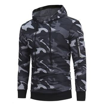 Fashion Autumn Winter Large Size Hooded Sweatshirt Men Camo Hoodie Slim Fit