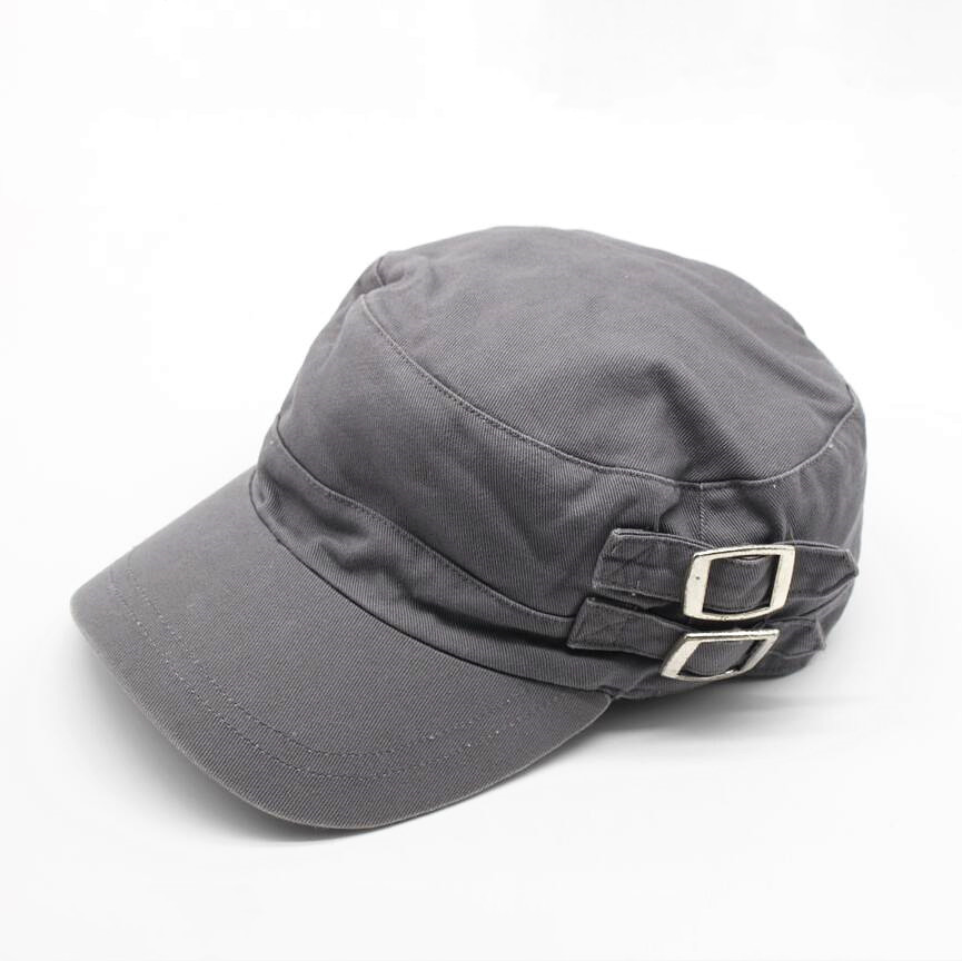 Cotton Twill Baseball Cap for Men Women Girls Summer Metal Buckle Trucker Caps Black Beige Grey Khaki Military Cap