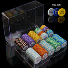 14g Clay Monte Carlo Casino Poker Chips Custom Poker Chips Set 200pcs in Acrylic Box for poker game