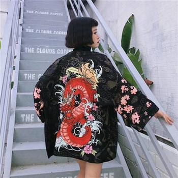 Women Japanese Kimono Coat Loose Yukata Outwear Tops Vintage Fancy Dress