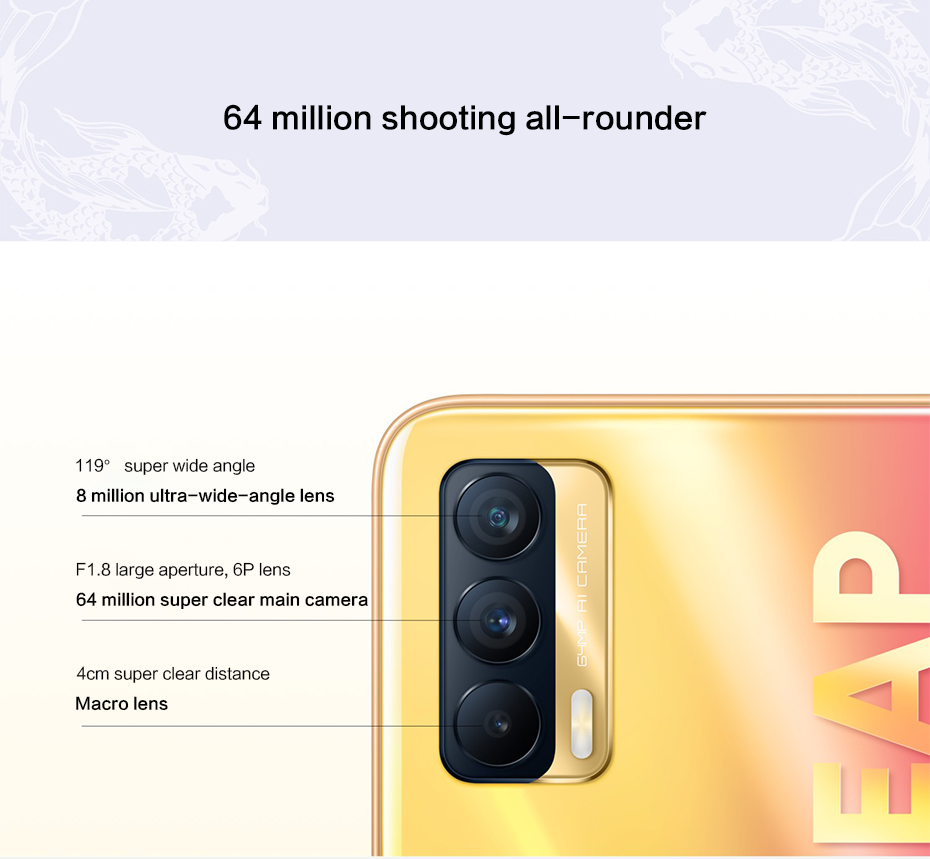 2021New Realme V15 5G Mobile Phone Dimensity 800U Octa Core 6GB 8GB RAM 128GB ROM 4310mAh 50W 6.4 inch AMOLED Screen 64MP Camera