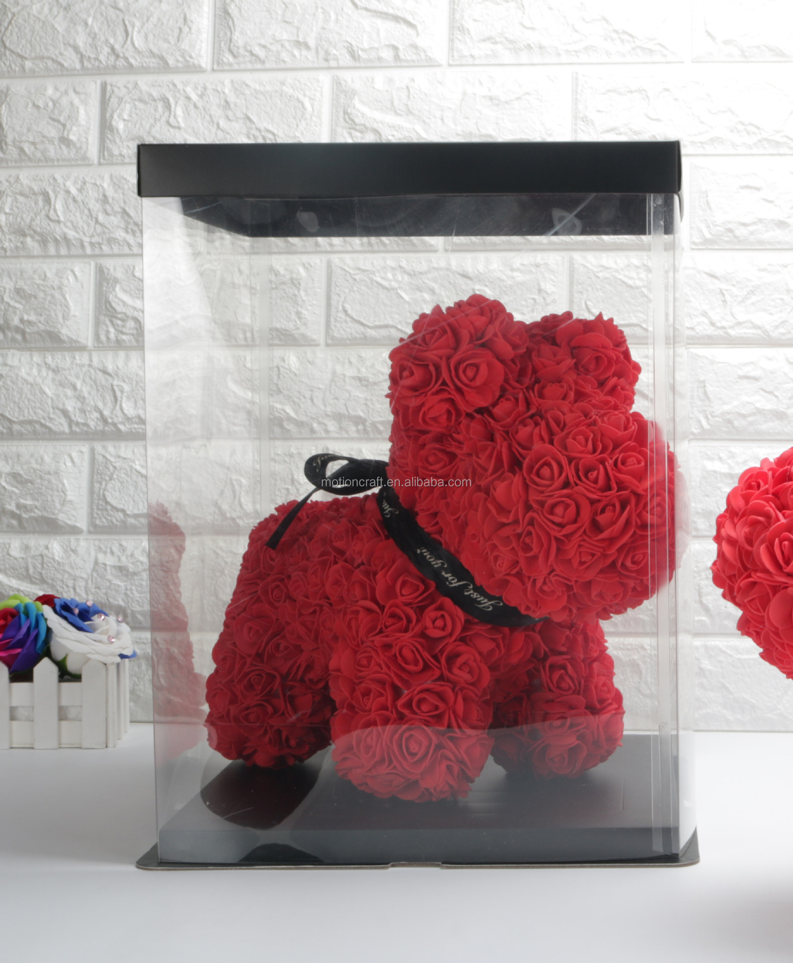 Rose Box Bear Doll Box Plastic Gift Box Packing Super Clear Thicken Layer Transparent Flower Box Birthday Cake Box(Black /& Transparent