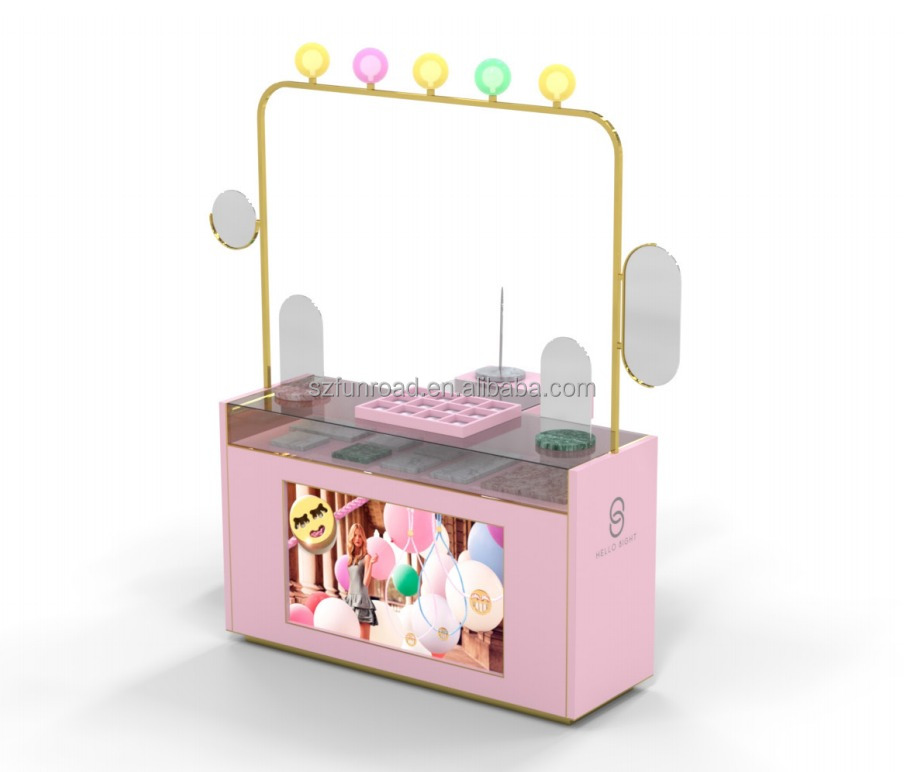 Custom color mobile small jewelry display kiosk showcase / jewelry display counter with spot ligth