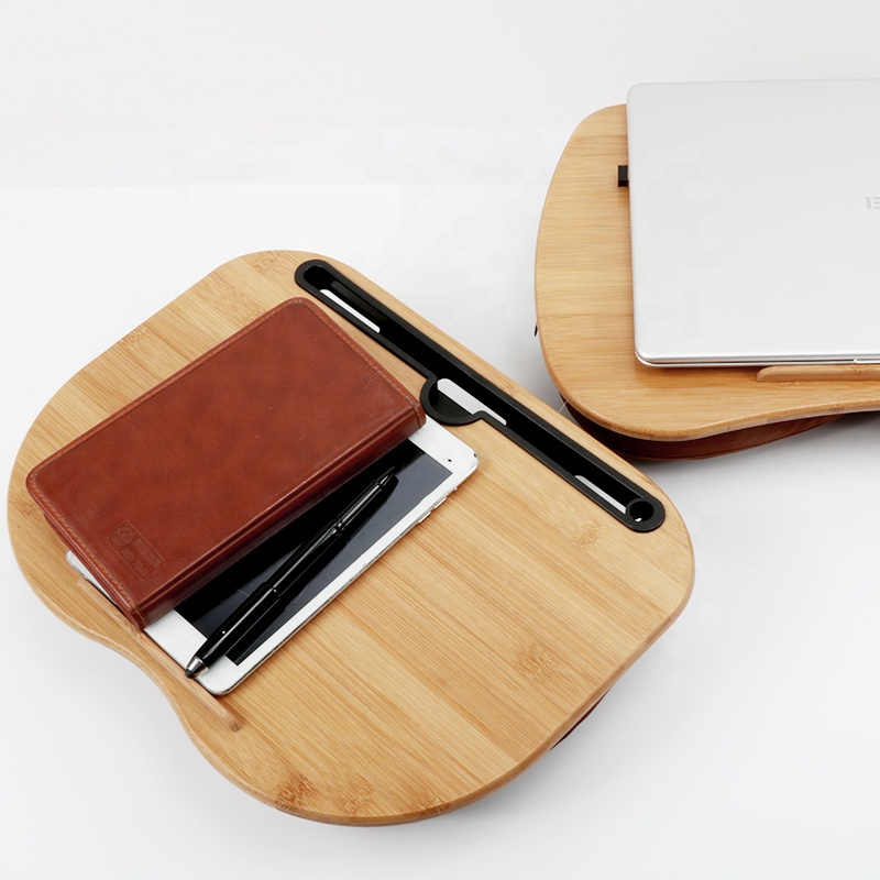 Portable Bamboo Top Lap Laptop Desk Built In Slot With Pillow For Reading Writing