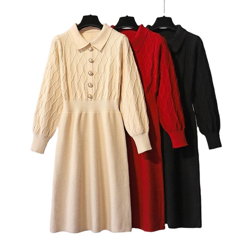 custom long sweater dresses women pearl knit sweater women winter dress