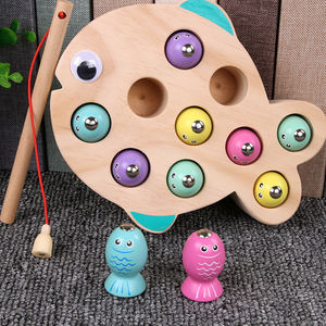 Children Educational Parent-child Interaction Funny Table Game Fish Shape Wooden Fishing Game Toy