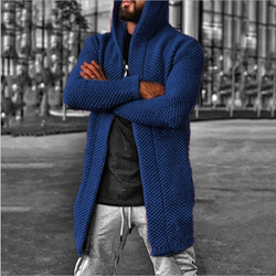 Men's New Cardigan Pure Color Hooded Jacket Sweater
