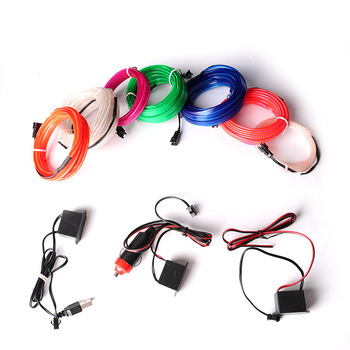 Car 12V LED Cold lights Flexible Neon EL Wire Auto Lamps on Car Cold Light Strips Line Interior Decoration Strips lamps