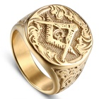 Top latest design custom titanium steel mens masonic rings gold ring