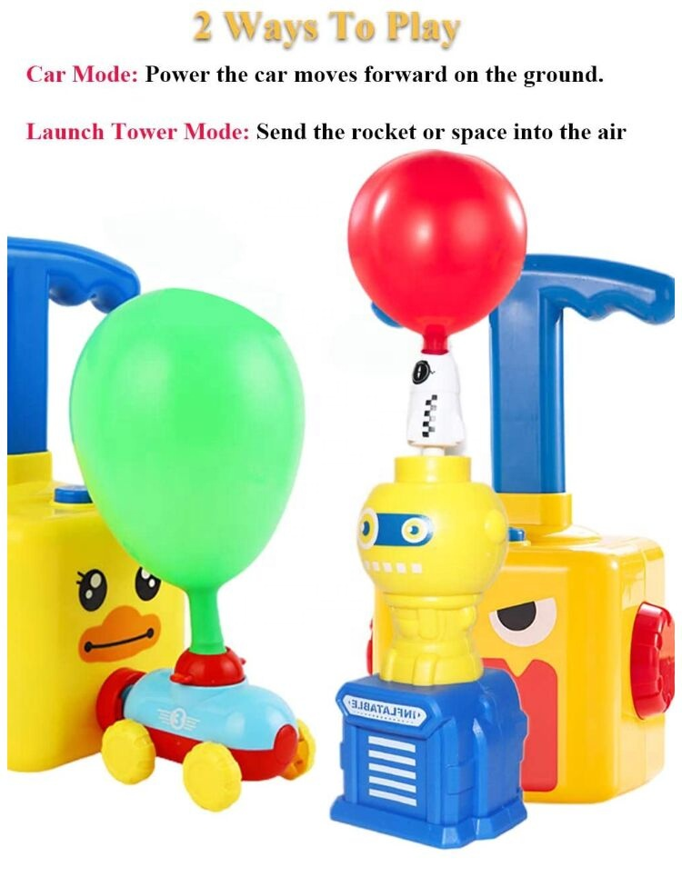 Hot Selling Balloon Powered Car Toy Air Power Racer Toy Balloon pump Inertial Vehicle with 8 Balloons for Kids