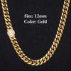 12mm CZ Buckle Clasp Gold Cuban Chain