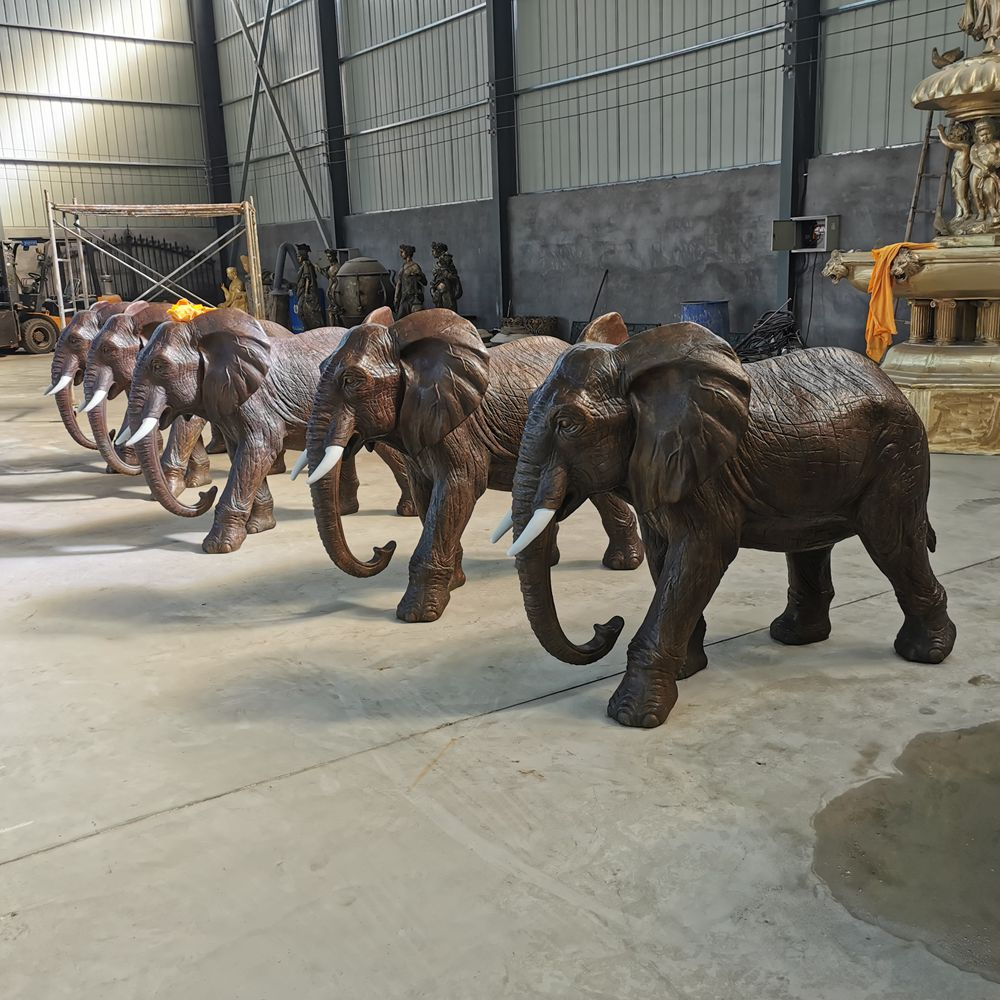 customized L170cm casting bronze baby young elephant sculpture