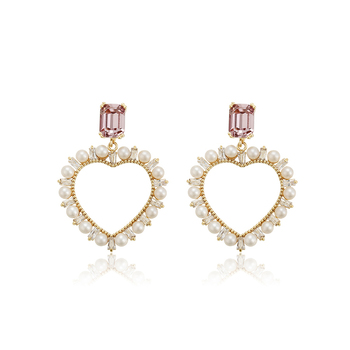 E-716 xuping Hot Selling Fashion Style heart Drop Earrings copper 14k Gold Plating Pearl earrings