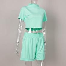 Женский спортивный костюм, с коротким рукавом, облегающий Топ, эластичные шорты, новинка 2020(Китай)