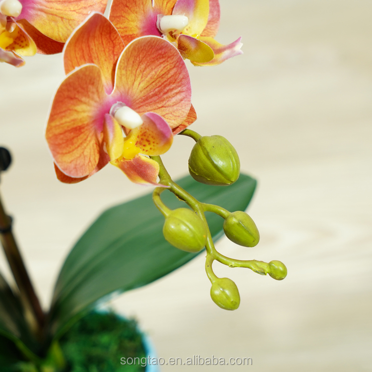 Orange Faux Flower Artificial Plastic Bb Butterfly Orchids With Plastic Leaf In Flask