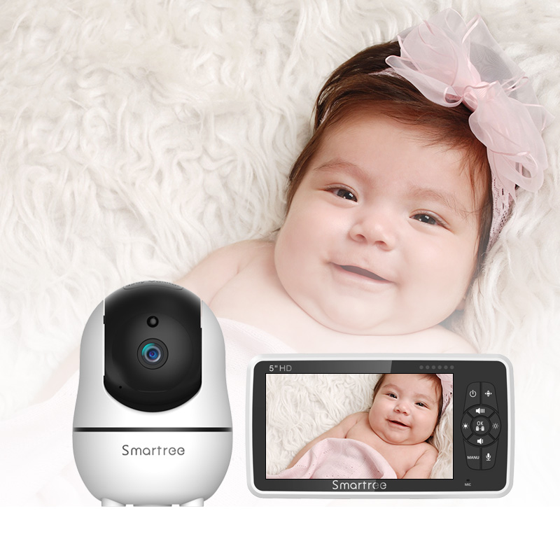 Amazon hot selling baby crying detection monitoring large screen video baby monitor with camera and night vision