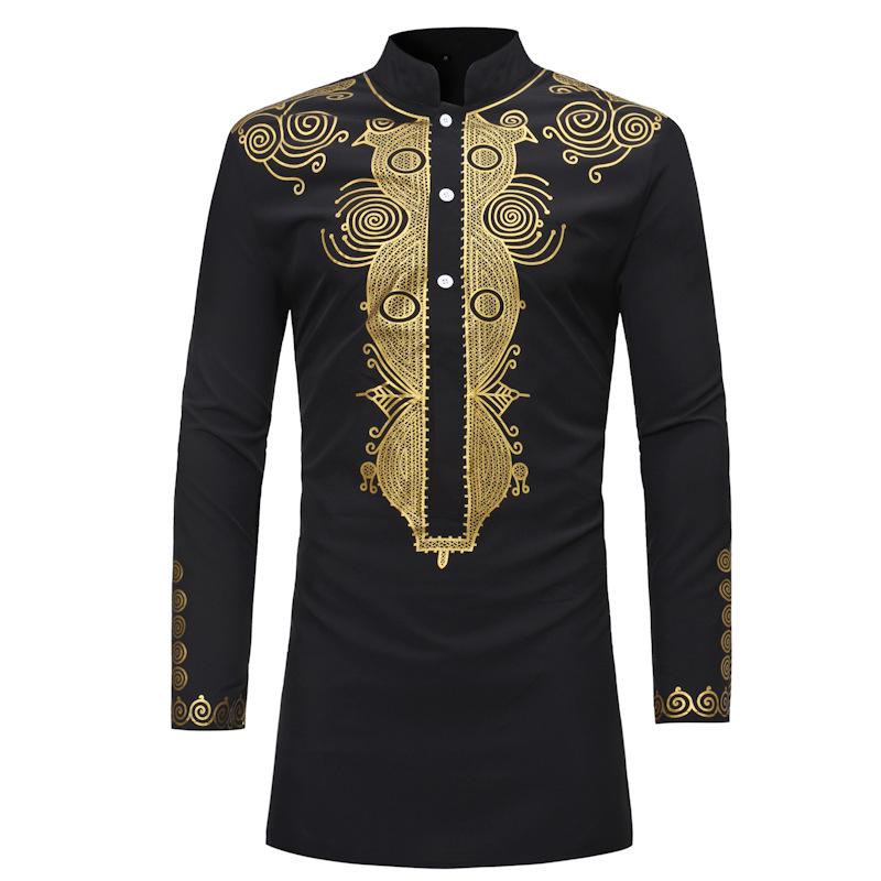 MXCHAN SJH11003 Африканский мужской традиционный стиль стоячий воротник и Золотая одежда