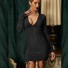 שחור-ארוך שרוול שרוך ruched שמלה