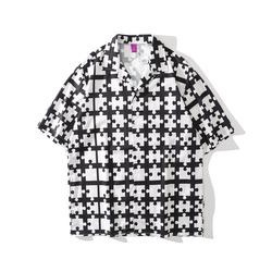 Custom Logo OEM Casual Printed Short Sleeve Shirt Men Street Hawaii Beach Oversize Women HIp Hop Harujuku Shirts for Men
