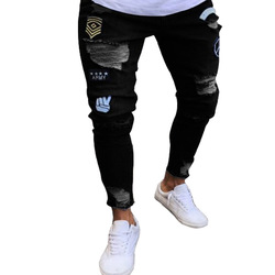 wholesale men's denim pants casual INS style summer jeans with Badge and ripper detail